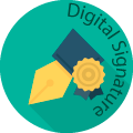 digital signature globe badge