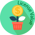 licence value globe badge