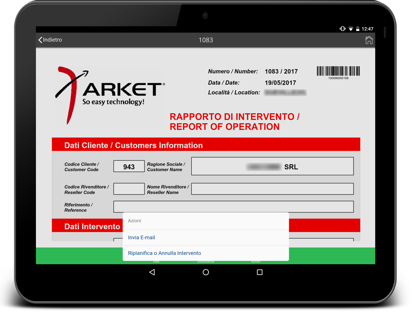 azioni documento app globe android